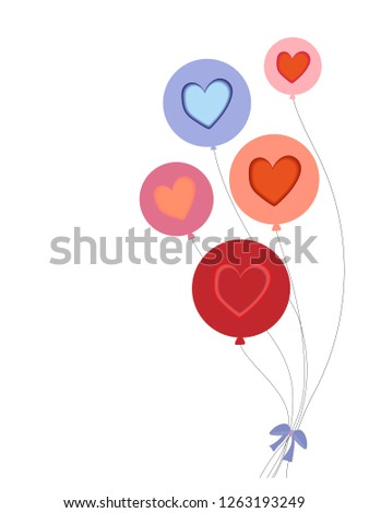 Paper cut with layers of red heart on white frame, Illustratoin paper art heart shape multicolour on white background, Romantic with chic designs for valentine or love card concept-Vector #1263193249
