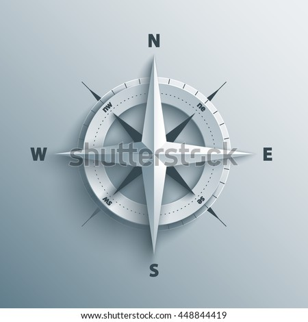 Paper Cutout compass with shade in 3d and origami style. Vector illustration.