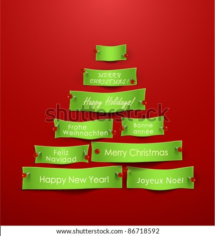 Paper cuts in the shape of Christmas tree with different holidays messages. Vector Illustration - stock vector