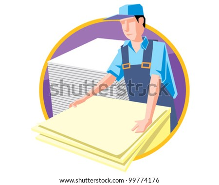 Paper cutter at work print service vector icon illustration