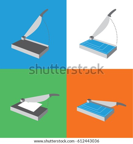 Paper Cutter Icon Set / Guillotine Illustrations for Hand Craft  Foto d'archivio ©