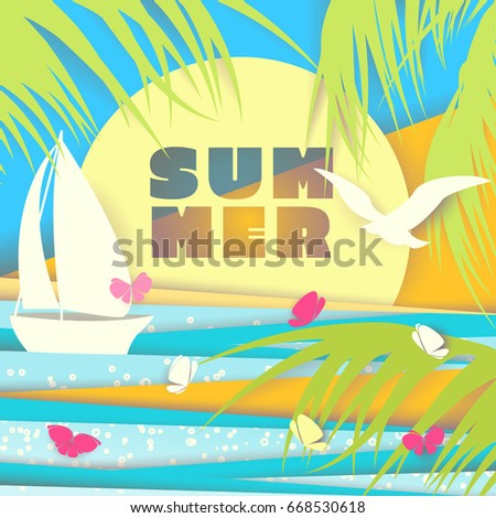 paper cutting summer background