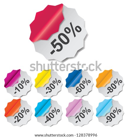 Paper Discount labels with different corner. vector illustration - stock vector