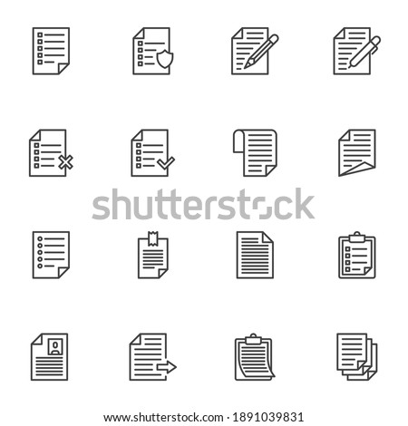 Paper document line icons set, outline vector symbol collection, linear style pictogram pack. Signs, logo illustration. Set includes icons as report, wish list, cv resume, paper clipboard, task list