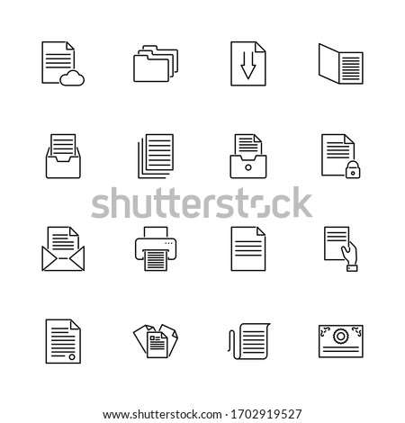 Paper Documents, Doc Folder outline icons set. Black symbol on white background. Paper Documents Doc Folder Simple Illustration Symbol lined simplicity Sign. Flat Vector thin line Icon editable stroke
