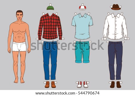 Paper Doll Of The Man With Different Outfits Clothes Modern Stylish Fashionable Clothing