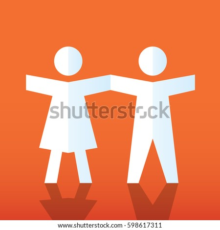 paper doll people holding hands