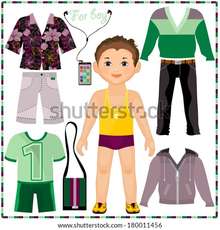 large paper doll template - paper doll with a set of fashionable clothing cute trendy boy template for cutting stock