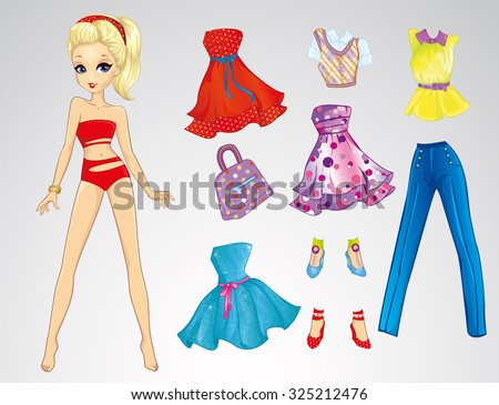 paper doll with clothes and