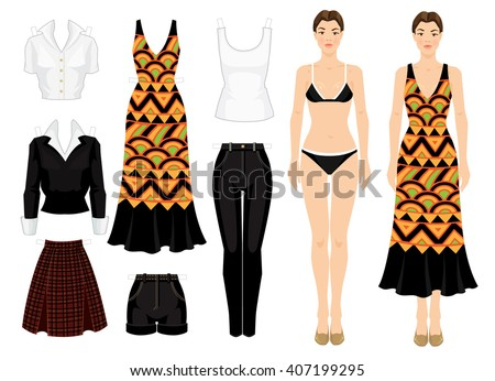 paper doll with clothes body