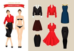 Paper doll with clothes for office and holiday. Body template. Brunette woman in red blouse skirt isolated on white background