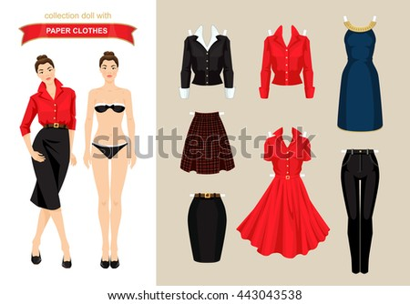 paper doll with clothes for