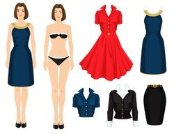 Paper doll with clothes for office and holiday. Body template. Girl in elegant navy blue dress