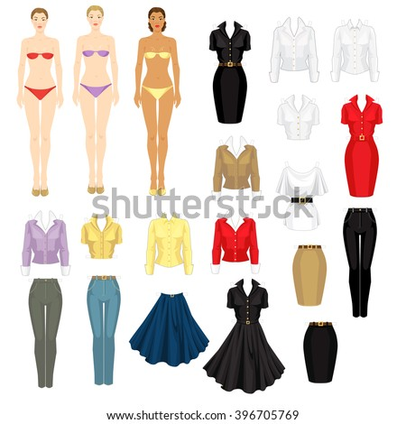 paper doll template woman - royalty free paper doll with different dresses 240536956