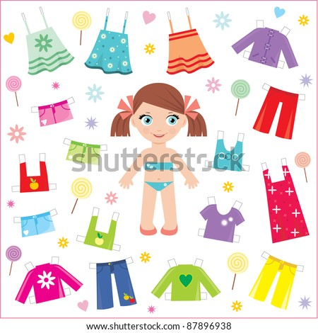 Paper doll with clothes set. vector, no gradient