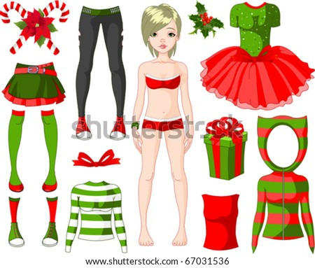 Paper Doll with different Christmas dresses - stock vector