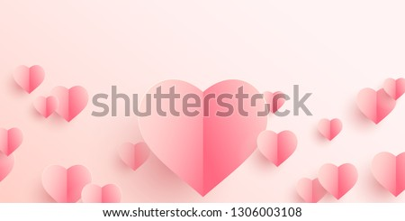 Paper elements in shape of heart flying on pink background. Vector symbols of love for Happy Women's, Mother's, Valentine's Day, birthday greeting card design