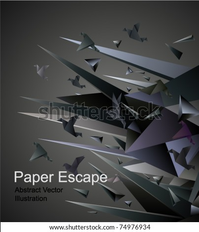 Stock Photo Paper Escape, Origami abstract vector illustration.