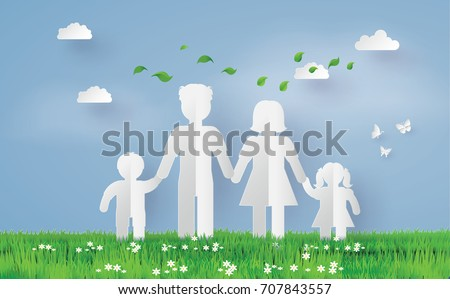 Paper family on the grass field, paper art and  digital craft style.