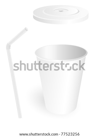 paper fast food cup with tube