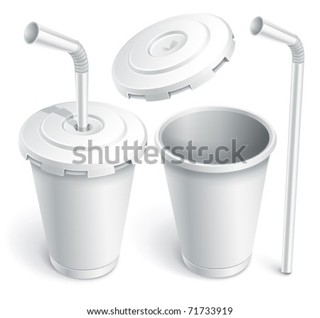 paper fast food cup with tube. Vector illustration isolated on white background