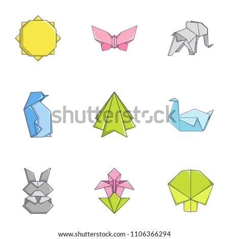 paper figurine icons set