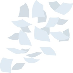 Paper files of documents fall down. Flying sheets. Blank sheet. Thrown object. White trash. Cartoon flat illustration. Office element