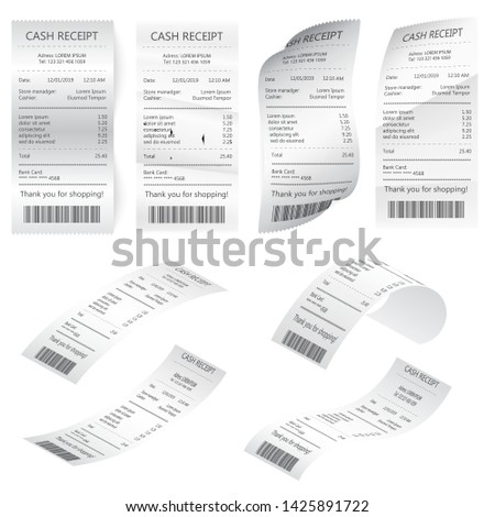 Paper financial check isolated. Bill atm template, cafe or restaurant paper financial check. Financial atm bill, cash dispenser financial invoice. Retail bill, rumpled commercial check or invoice