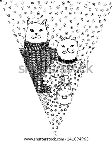 paper flag with cat couple