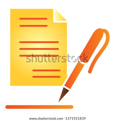 Paper flat icon. List and pen color icons in trendy flat style. Record gradient style design, designed for web and app. Eps 10 #1371921839