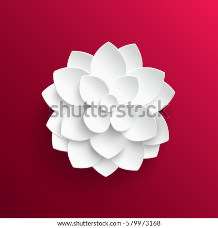 Paper flower. Lotus. Background. Vector illustration