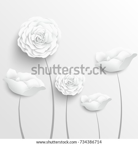 Paper flower. Paper rose. White rose. Roses cut from paper. Wedding decorations. Greeting card template, blank floral wall decor. Background. Illustration