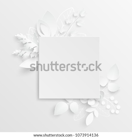 Paper flower. Square frame with abstract cut flowers. White rose. Wedding decorations. Decorative bridal bouquet, isolated floral design elements. Greeting card template on white background.