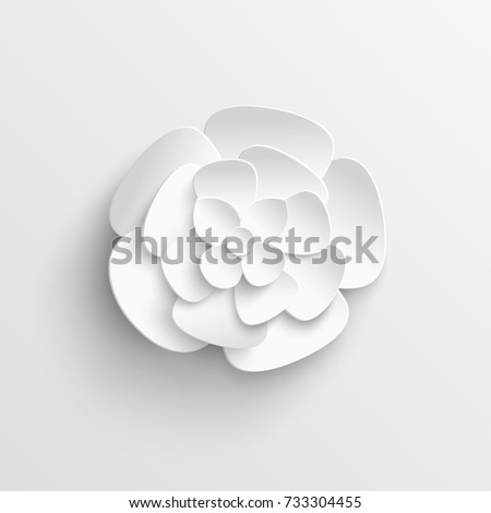 Paper flower. White flower. Lotus. A flower cut from a paper on a white background. Wedding decorations. Wedding lace. Template greeting card, blank floral wall decor. Background. illustration