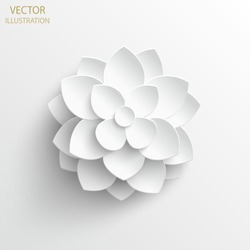 Paper flower. White lotus cut from paper. Wedding decorations. Decorative bridal bouquet, isolated floral design elements. Greeting card template. Vector illustration. Background.