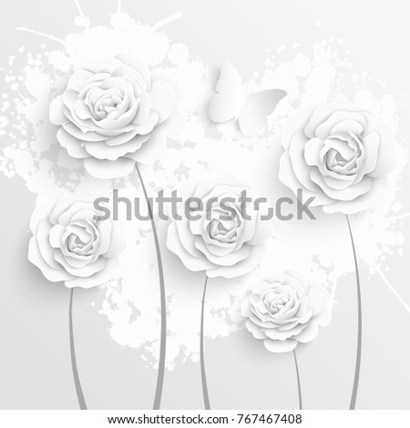 Paper flower. White roses are cut from paper. Beautiful butterfly and heart on a white background. Wedding decorations, lace. Template greeting card, blank floral wall decor.