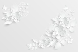 Paper flower. White roses cut from paper. A heart. Wedding decorations. Decorative bridal bouquet, isolated floral design elements. Greeting card template, blank floral wall decor. Background.