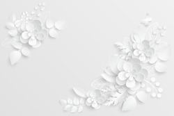 Paper flower. White roses cut from paper.  Wedding decorations. Decorative bridal bouquet, isolated floral design elements. Greeting card template, blank floral wall decor. Background.