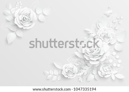 paper flower white roses cut