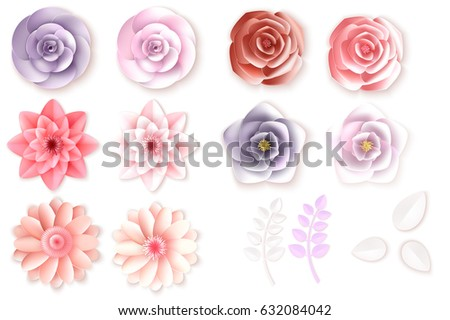 Paper flowers. Can be used as invitation card for wedding, birthday and other holiday and summer background. Vector illustration