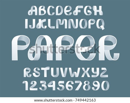 Paper folding Alphabet Vector. White Ribbon script font. Vector of modern stylized paper font. Alphabet letters. 3d alphabets set. Elements design.Strips folding abc