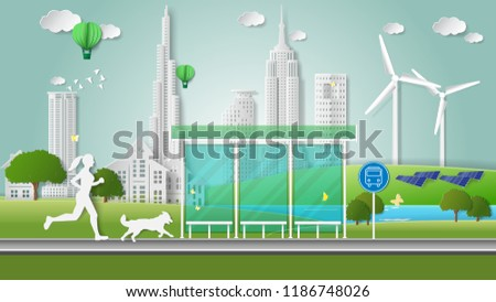 Stock Photo Paper folding art origami style vector illustration. Green energy ecology technology power saving environment friendly concepts. Woman and dog jogging on road through bus stop near green city parks.
