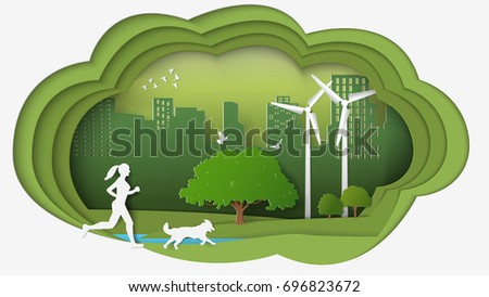 Paper folding art origami style vector illustration. Renewable energy ecology technology power saving environmentally friendly concepts. Dimension of thinking woman, dog running into green city parks.