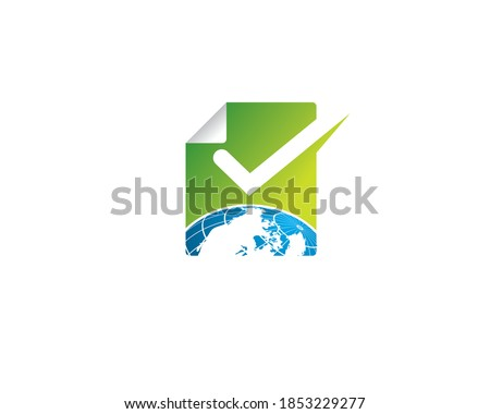 paper folding icon with an imae of earth globe view from top and a check mark list  Stock fotó ©