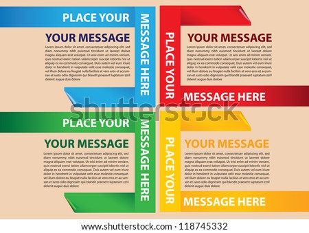 Paper folding Vector Layout Design Template with area for texts - stock vector