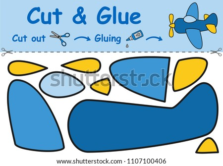Paper game for the development of preschool children. Cut parts of the image and glue on the paper. Toy airplane. Vector illustration