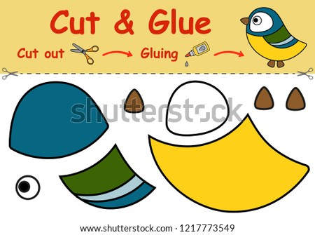 Paper game for the development of preschool children. Cut parts of the image and glue on the paper. The titmouse. Vector illustration