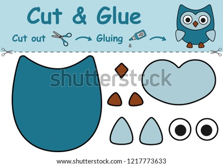 Paper game for the development of preschool children. Cut parts of the image and glue on the paper. The owl. Vector illustration