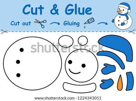 Paper game for the development of preschool children. Cut parts of the image and glue on the paper. The snowman. Vector illustration