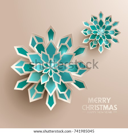 Paper graphic of Christmas snowflakes. Christmas decoration.  #741985045